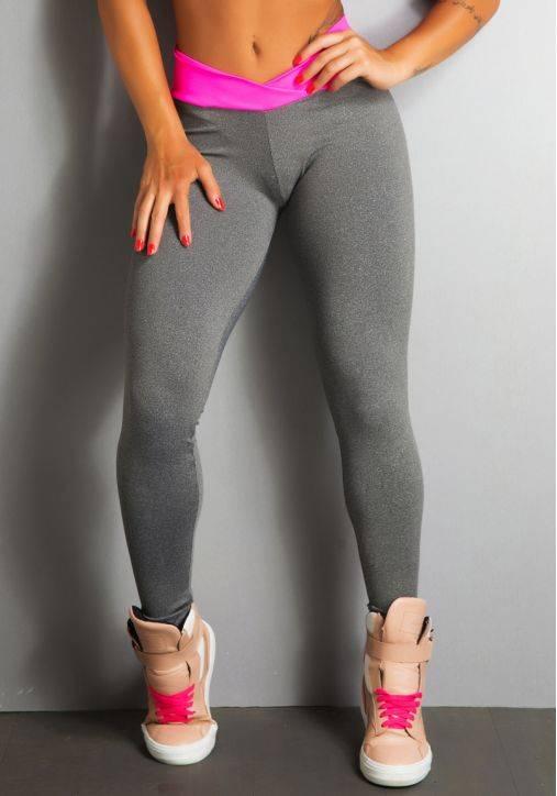 Legging Fitness Supplex Cós Alto Cruzado Fluorescente Rosa