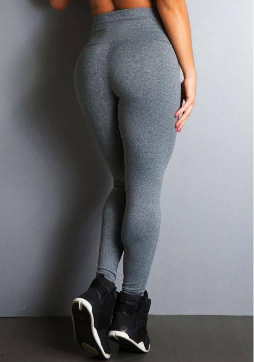 Legging Fitness Supplex Cós Alto Lisa Cinza