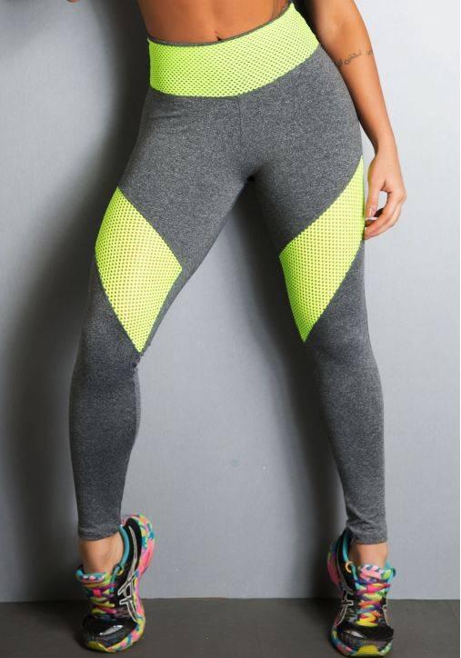 Legging Fitness Supplex Cós Alto Fluorescente Amarela