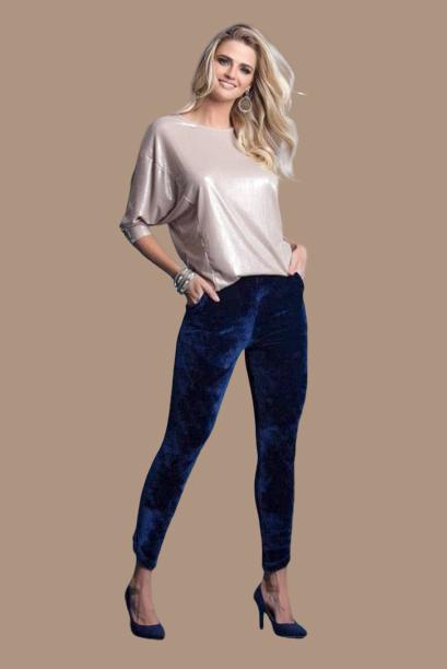 Calça Skinny Veludo Azul