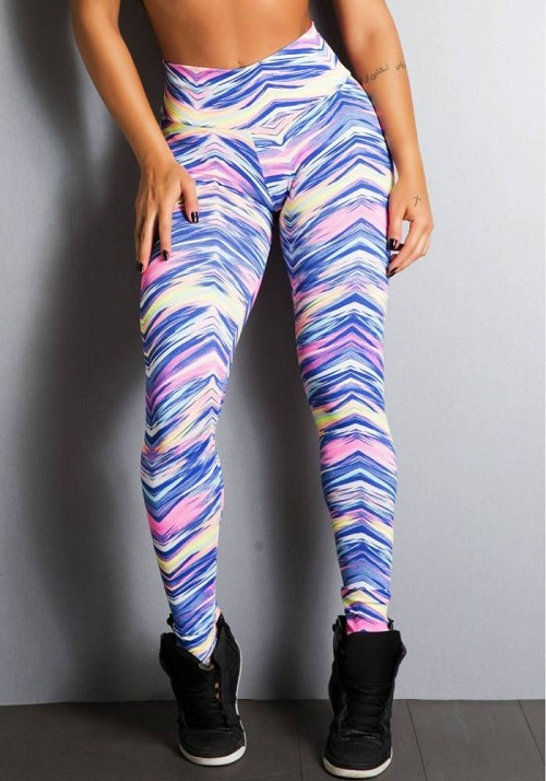 Legging Fitness Supplex Cós Alto Ondas Multicolor