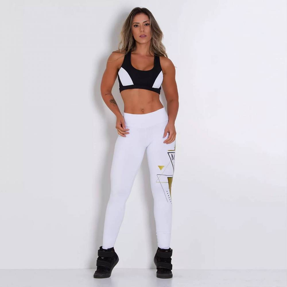 Legging Fitness Supplex Cós Alto Brasão Estampado Branca