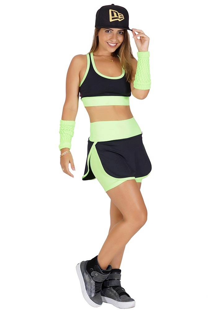 Conjunto Fitness Supplex Cós Alto Short-saia Top Fluorescente Verde