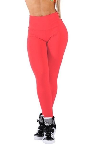 Legging Fitness Supplex Cós Alto Lisa Vermelha