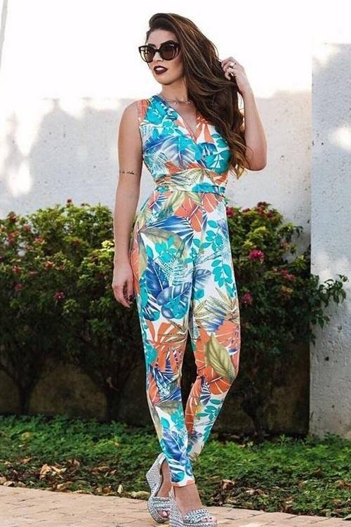 Macacão Longo Viscolycra Estampa Floral Multicolor