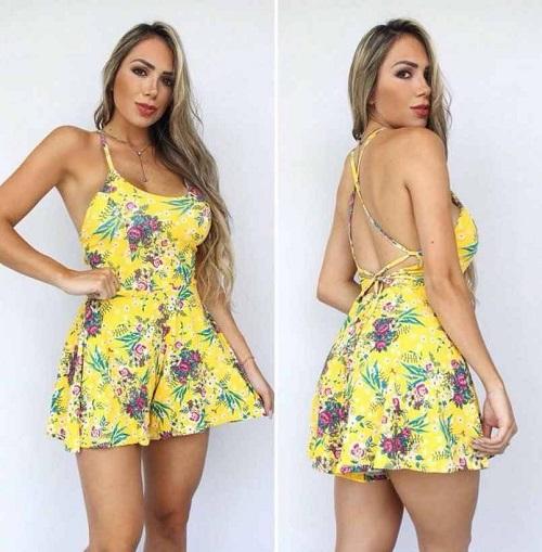 Macaquinho Godê Viscolycra Alças Floral Amarelo