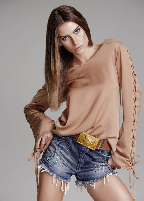 Short Curto Jeans Azul Strass Cintura Alta Tam 38