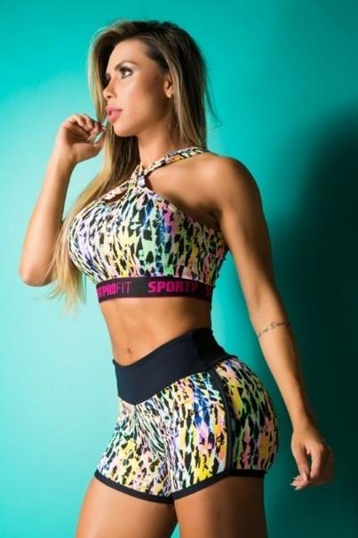 Top Fitness Supplex Nadador Gota Print Multicolor