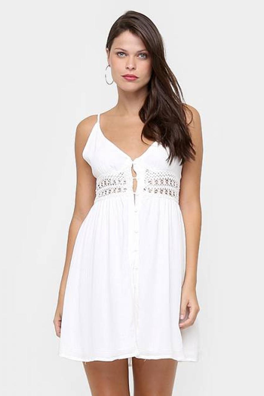 Vestido Curto Botoes Renda Branco