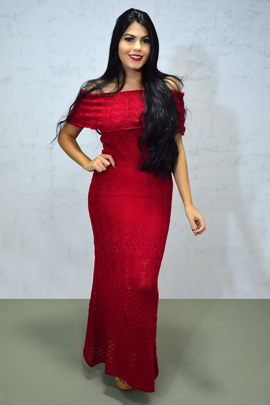 Vestido Longo Tricot Glam Ciganinha Vermelho