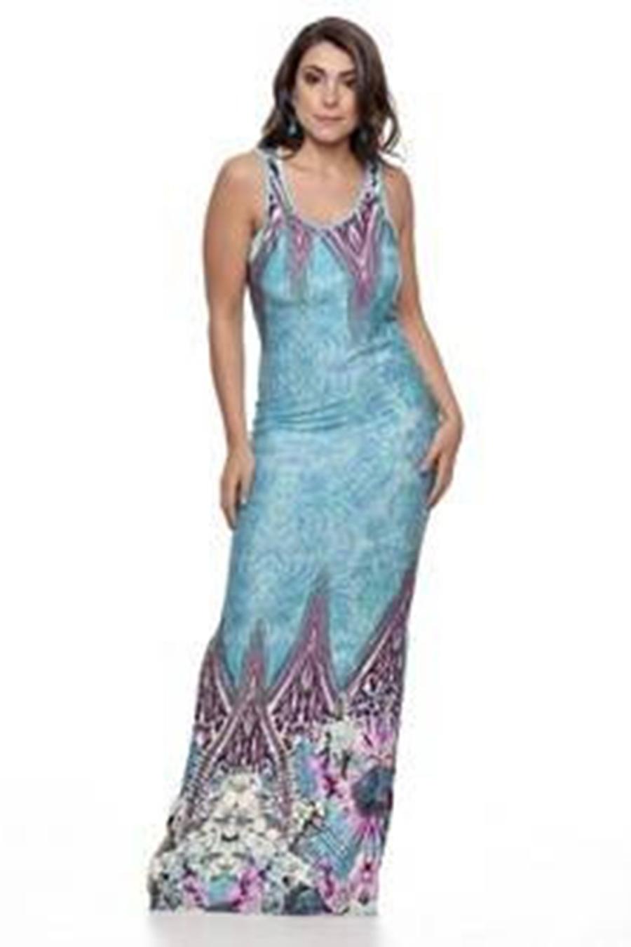 Vestido Longo Viscolycra Estampado Azul Crayon