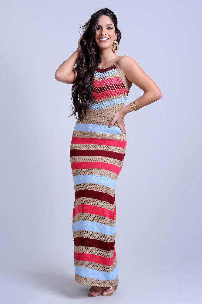 Vestido Longo Tricot Tarsila Vazado Alças Finas