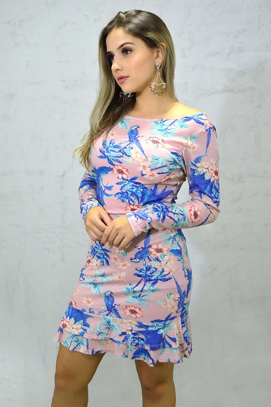 Vestido Curto Viscolycra Decotado Manga Longa Tropical Rosa
