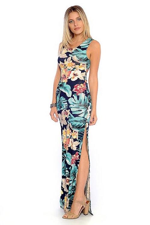 Vestido Longo Viscolycra Azul Floral Fendas