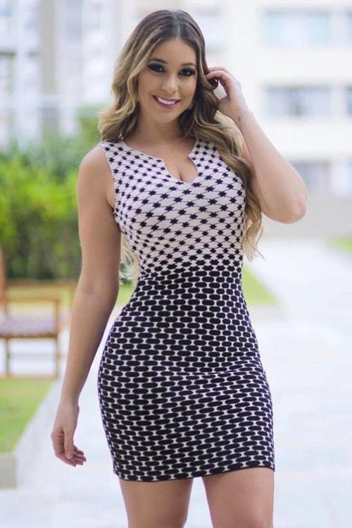 Vestido curto Tricot Estampado Mix