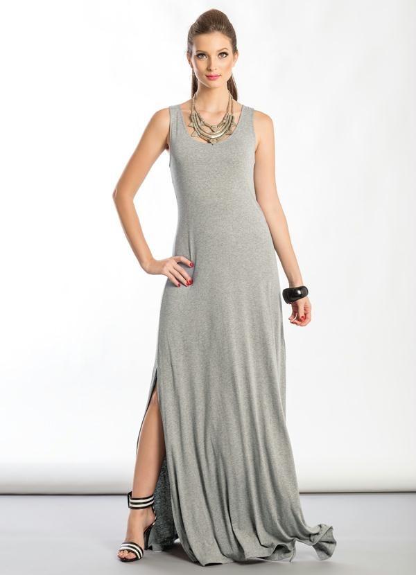 Vestido Longo Cinza Alça Fenda