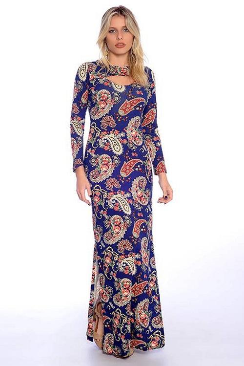 Vestido Longo Viscolycra Decote Vazado Azul