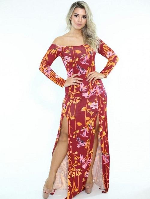 Vestido Longo Viscolycra Estampado Fendas London Vermelho