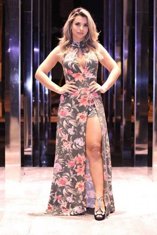 Vestido Longo Decotado Short Fenda Floral