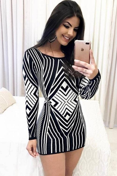 Vestido Curto Tricot Estampa Assimétrica