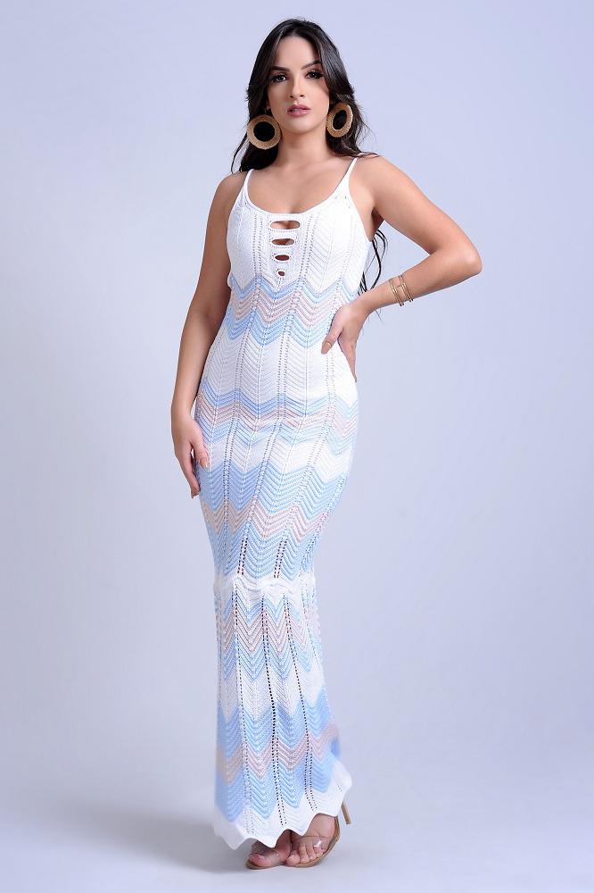 Vestido Longo Tricot Leblon Decotado Branco