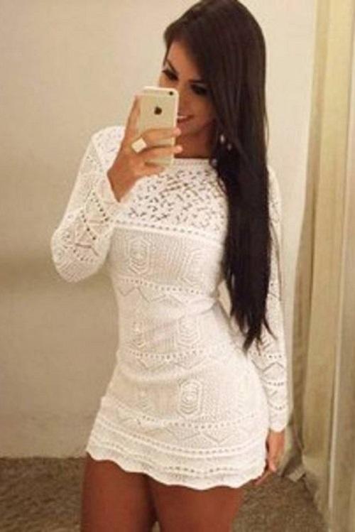Vestido Curto Tricot Milano Branco Manga Longa