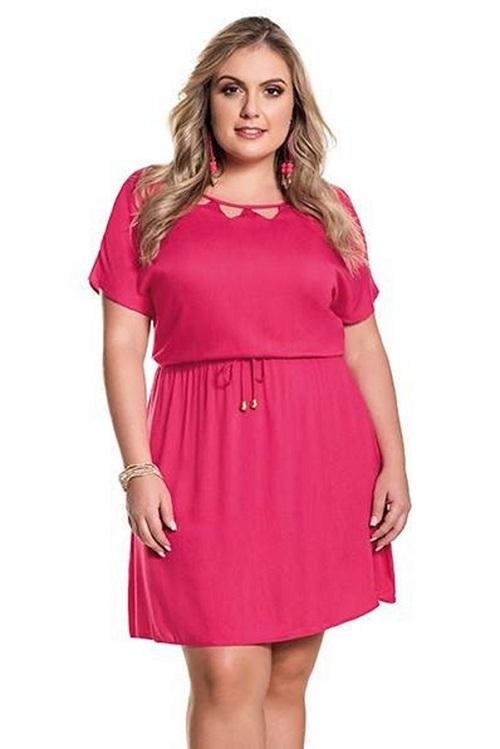 Vestido Curto Rosa Tricoline Cordões