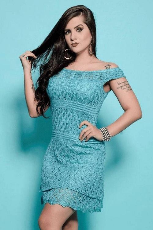 Vestido Curto Tricot Azul Aisha
