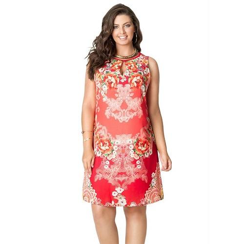 Vestido Curto Plus Size Cetim Gota Floral Vermelho