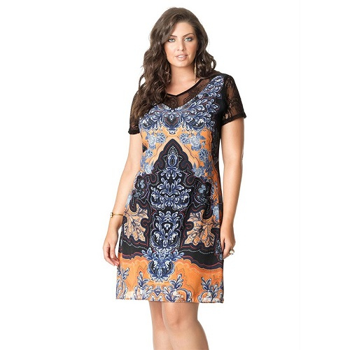Vestido Curto Plus Size Estamapa Sublimada Manga Curta Rendada