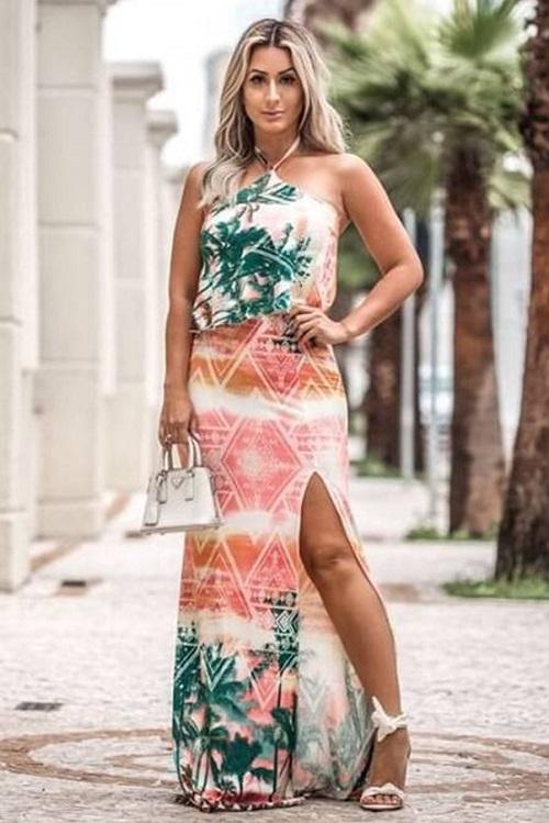 Vestido Longo Viscolycra Estampado Art Fashion