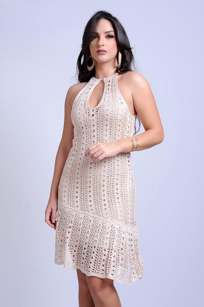 Vestido Midi Tricot Nude Diagonal Decote Gota