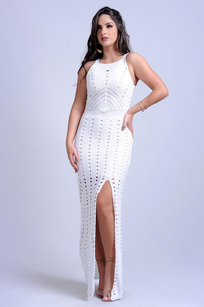 Vestido Longo Tricot Vazado Branco Fenda