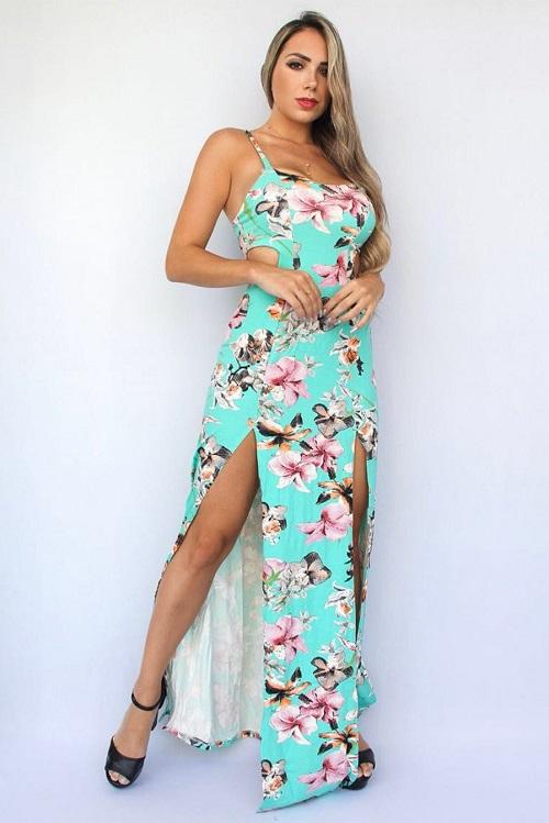 Vestido Longo Viscolycra Jasmin Estampado Fendas Verde