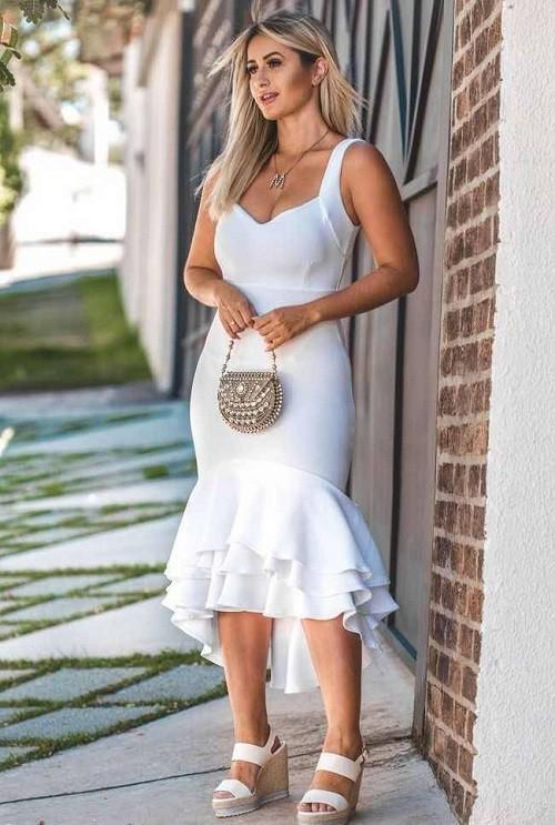 Vestido Midi Malha Crepe Babado Branco