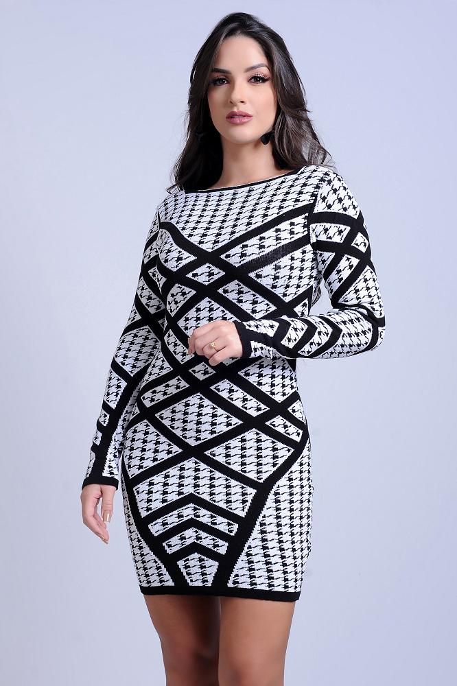 Vestido Curto Tricot Estampa Geométrica Manga Longa