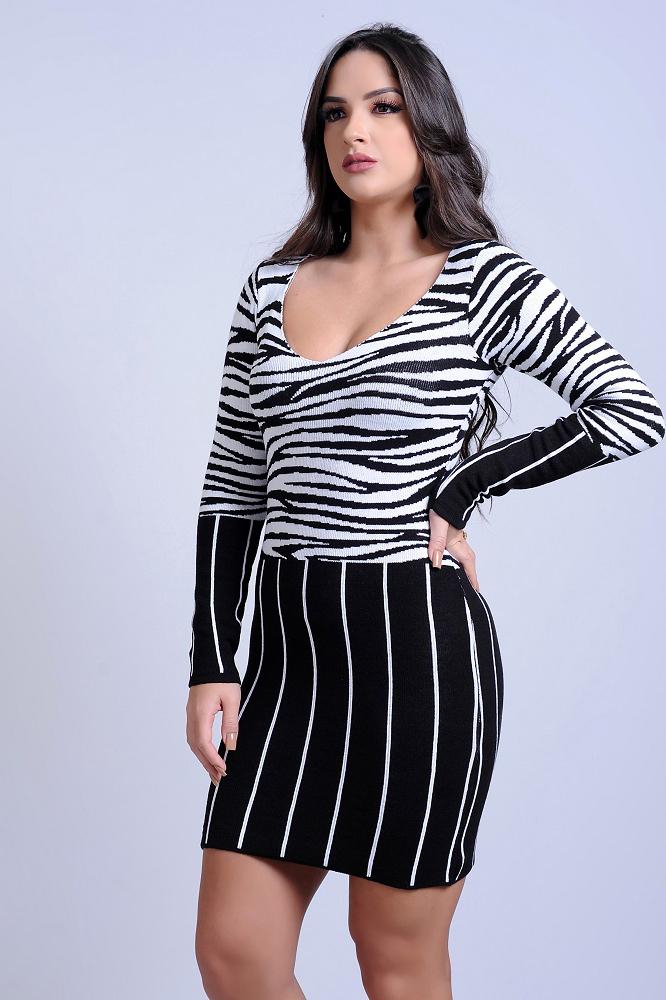Vestido Curto Tricot Mangas Longas Estampado Zebra