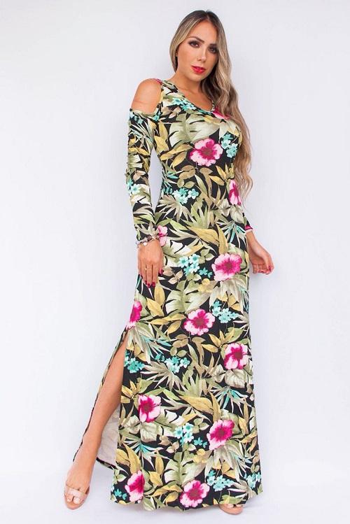 Vestido Longo Floral Preto Ombro Vazado Fenda Lateral