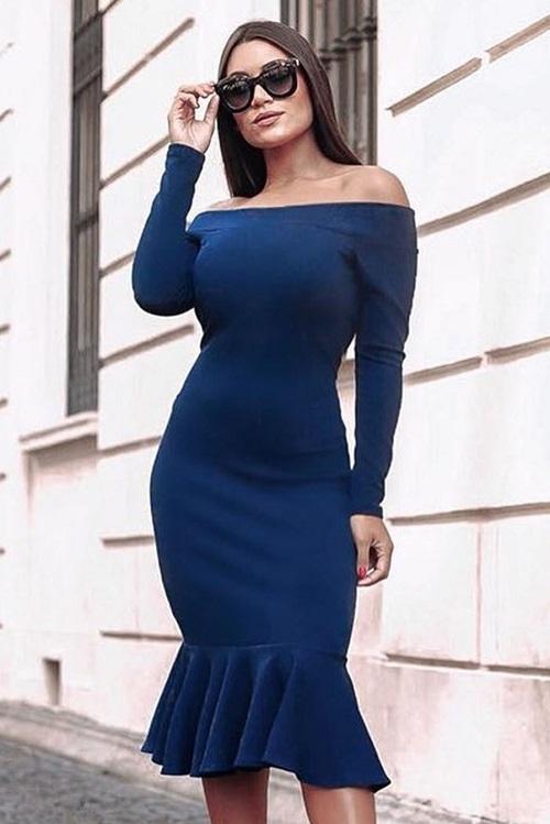 Vestido Midi Ombro a Ombro Manga Longa Babado Azul