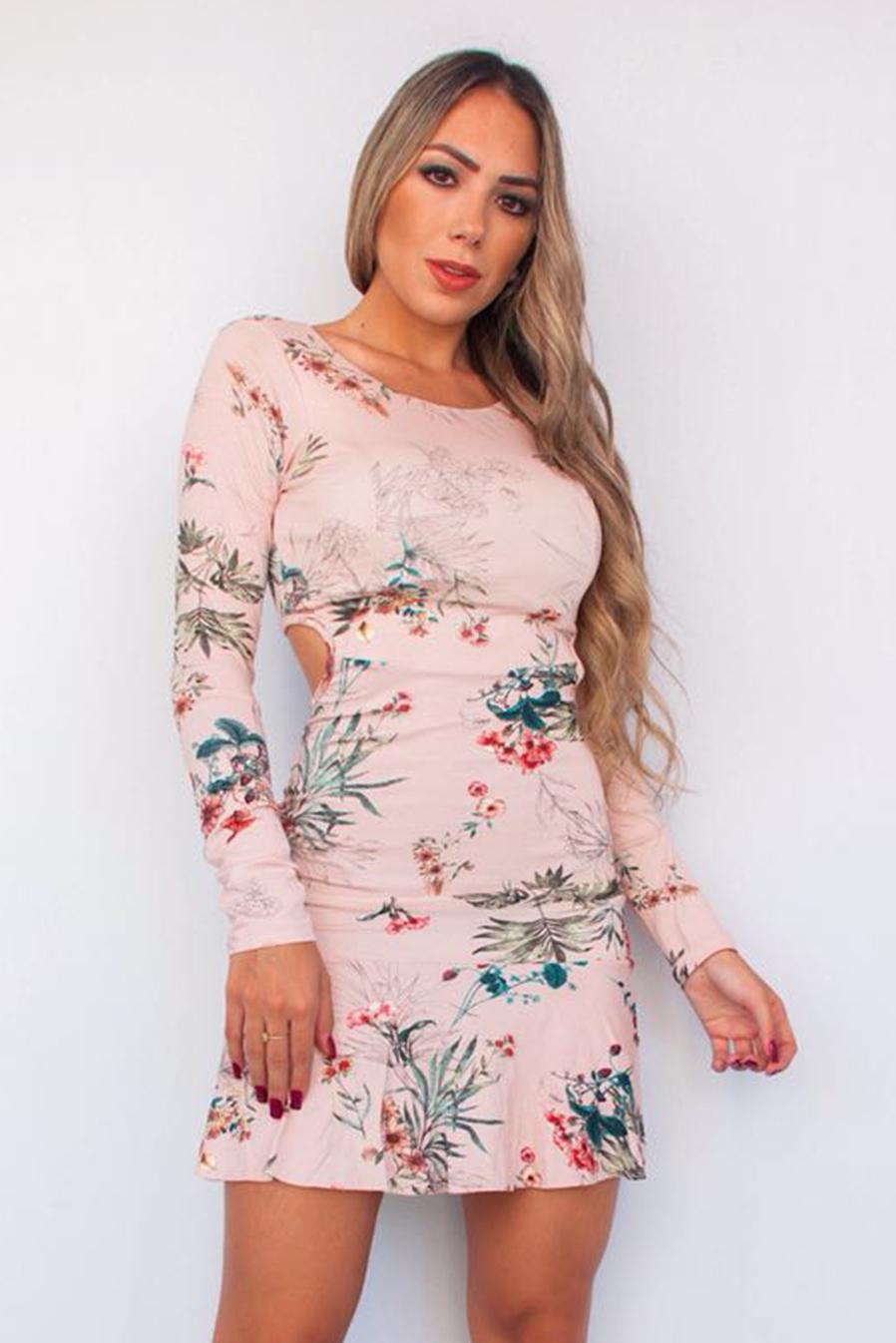 Vestido Curto Manga Longa Floral Rosê Vazado Viscolycra