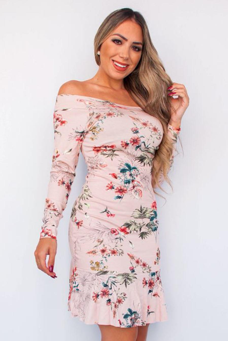 Vestido Curto Manga Longa Floral Rosê Babado Viscolycra