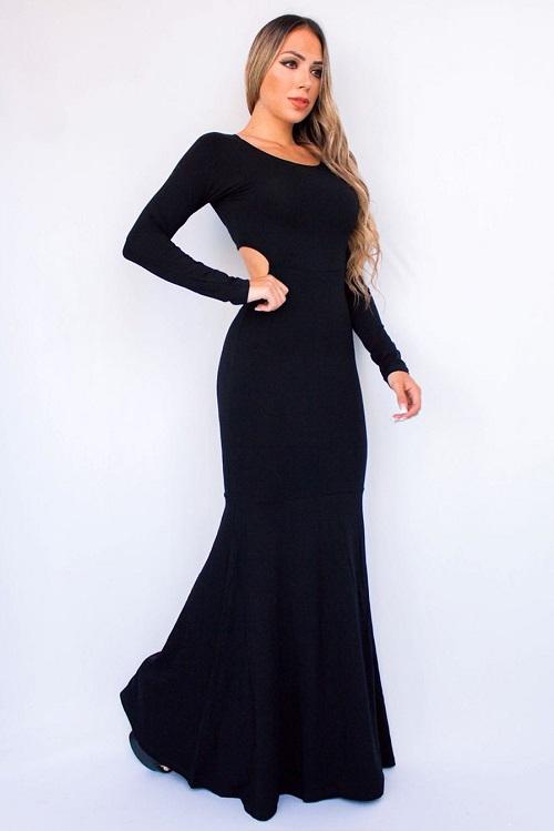 Vestido Longo Viscolycra Vazado Sereia Preto