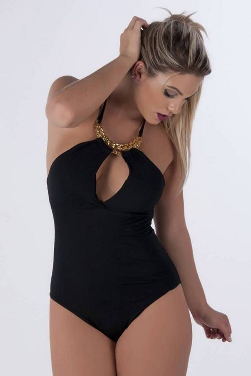 Body Viscolycra Preto Decote Gota Corrente