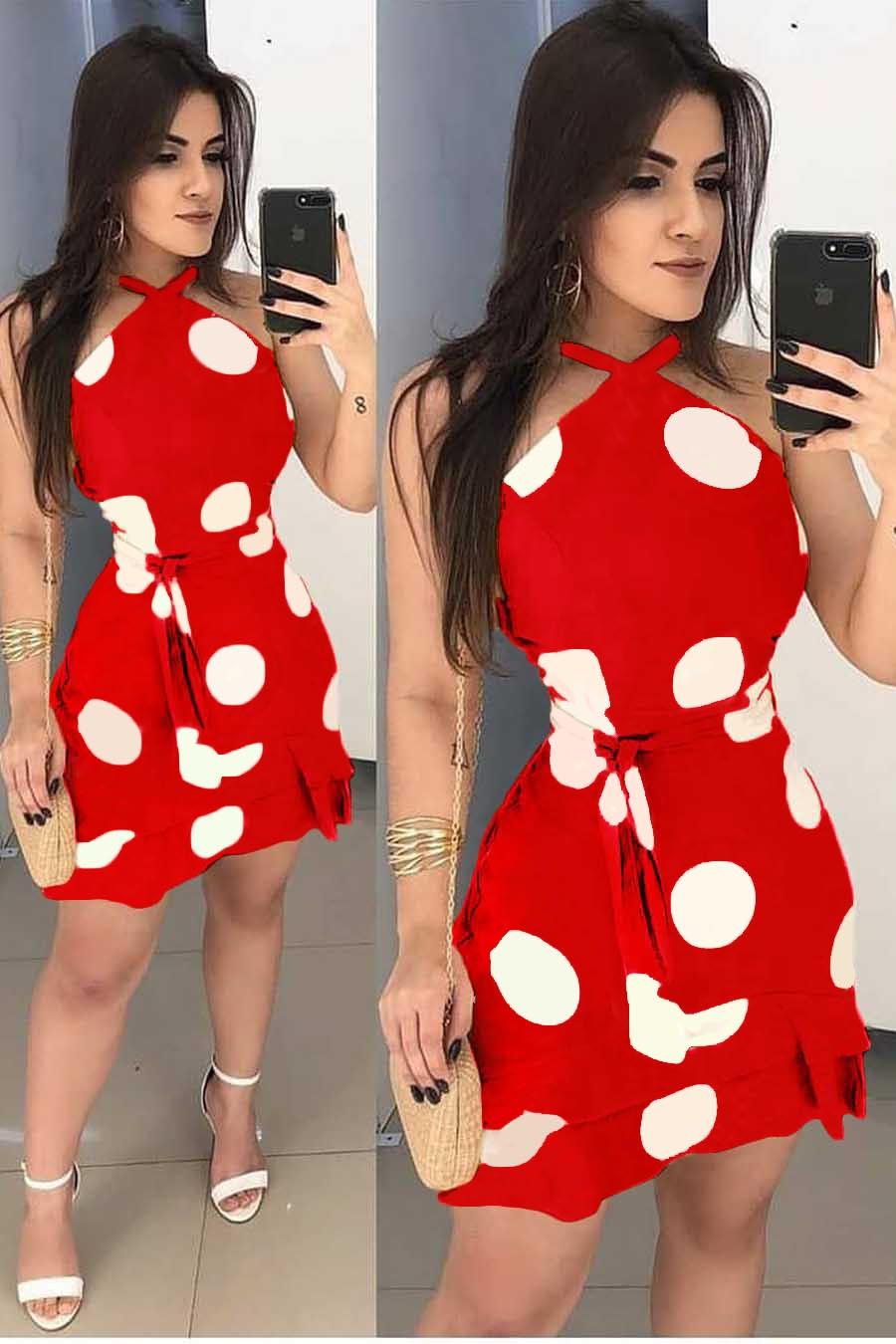 Vestido Curto Poá Decote Jóia Vermelho