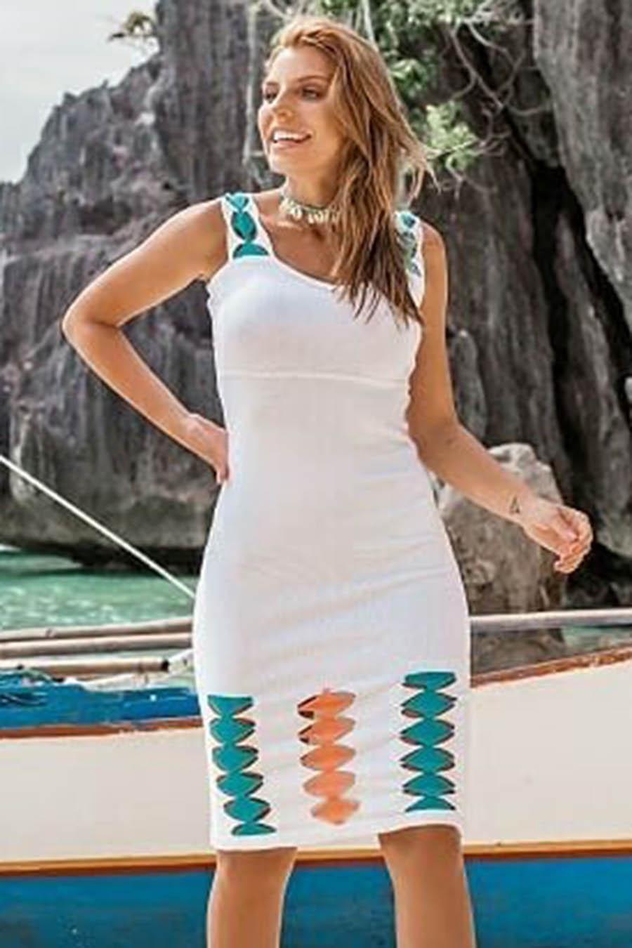 Vestido Curto Tricot Alça Vazado Branco