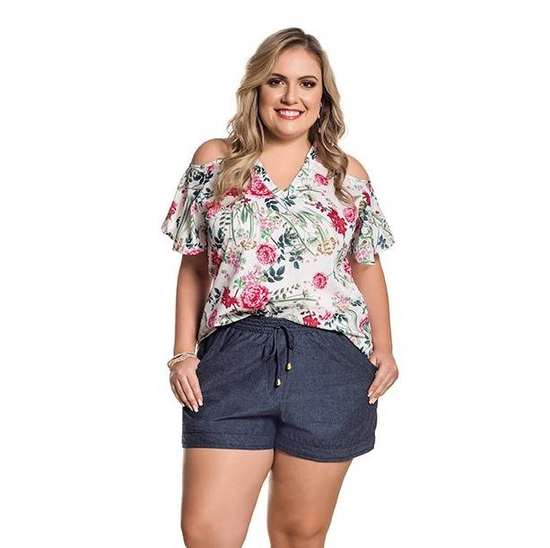 Short Curto Plus Size Chambray Cordões Azul