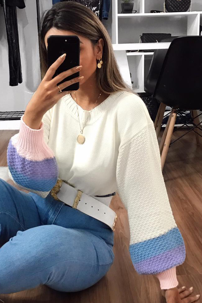 Blusa Tricot Quadricolor Manga Longa Bufante