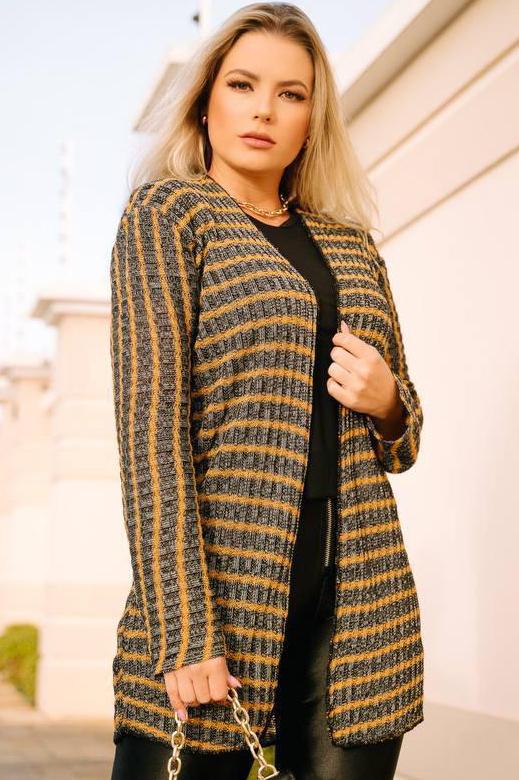 Kimono Tricot Aberto Listrado
