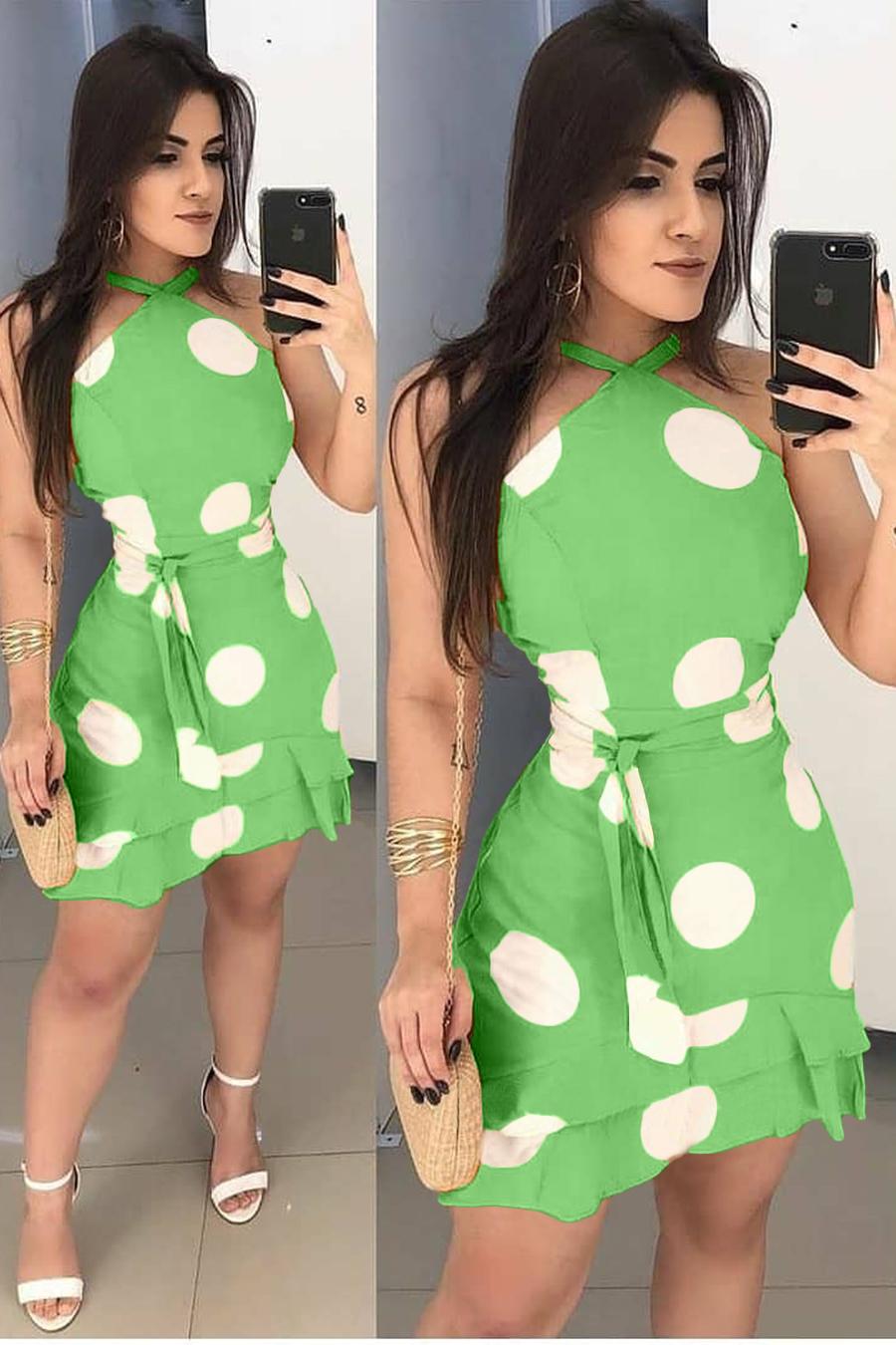 Vestido Curto Poá Decote Jóia Verde Menta