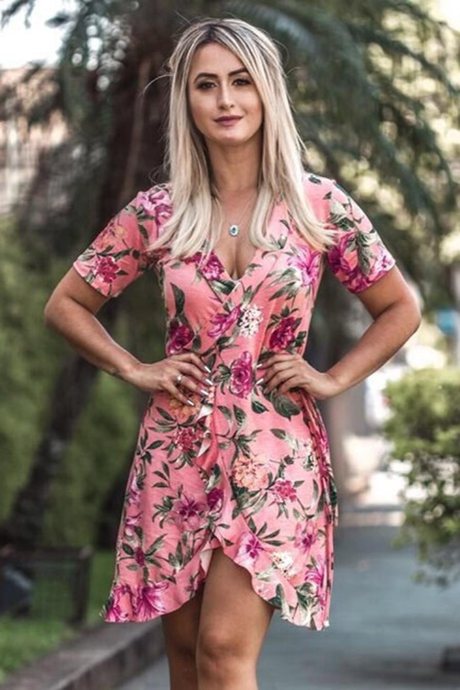 Vestido Curto Mangas Curtas Viscolycra Traspasse Rosa Floral